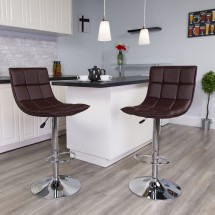 Flash Furniture CH-92026-1-BRN-GG Contemporary Brown Quilted Vinyl Adjustable Height Barstool with Chrome Base addl-4