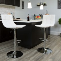 Flash Furniture CH-92026-1-WH-GG Contemporary White Quilted Vinyl Adjustable Height Barstool with Chrome Base addl-4