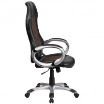 Flash Furniture CH-CX0906H-BN-GG High Back Brown Fabric and Black Vinyl Executive Swivel Chair with Arms addl-1