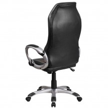 Flash Furniture CH-CX0906H-BN-GG High Back Brown Fabric and Black Vinyl Executive Swivel Chair with Arms addl-2