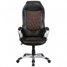 Flash Furniture CH-CX0906H-BN-GG High Back Brown Fabric and Black Vinyl Executive Swivel Chair with Arms addl-3