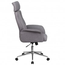 Flash Furniture CH-CX0944H-GY-GG High Back Gray Fabric Executive Swivel Chair with Chrome Base and Upholstered Arms addl-1