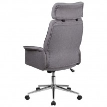 Flash Furniture CH-CX0944H-GY-GG High Back Gray Fabric Executive Swivel Chair with Chrome Base and Upholstered Arms addl-2