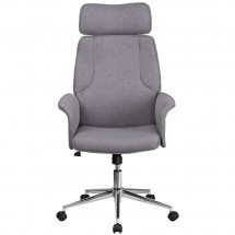 Flash Furniture CH-CX0944H-GY-GG High Back Gray Fabric Executive Swivel Chair with Chrome Base and Upholstered Arms addl-3