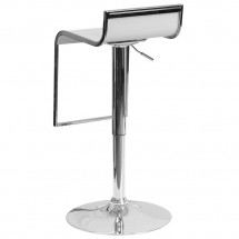 Flash Furniture CH-TC3-1027P-WH-GG Contemporary White Plastic Adjustable Height Barstool with Chrome Drop Frame addl-2