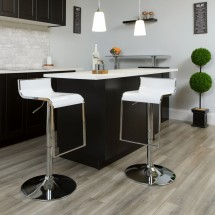 Flash Furniture CH-TC3-1027P-WH-GG Contemporary White Plastic Adjustable Height Barstool with Chrome Drop Frame addl-4