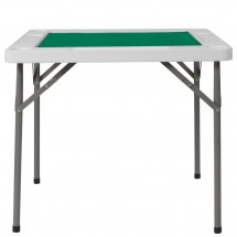 Flash Furniture DAD-MJZ-88-GG 34.5 Square Granite White Folding Game Table with Green Playing Surface addl-1