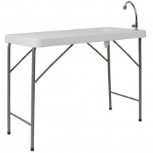 Flash Furniture DAD-PYZ-116-GG 23W x 45L Granite White Plastic Folding Table with Sink addl-1